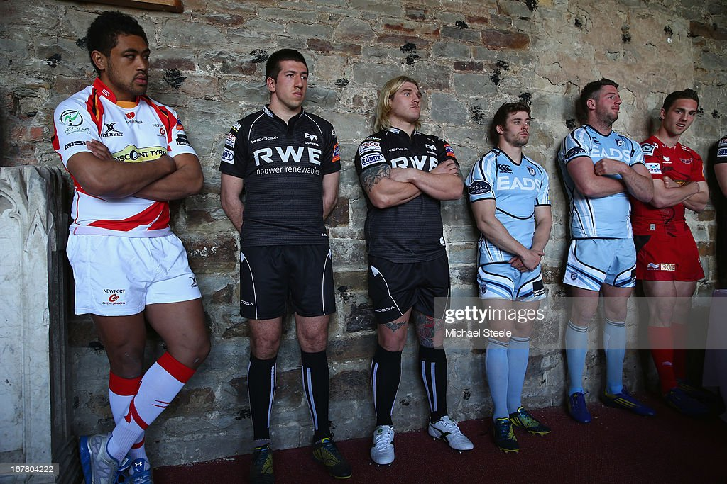 Toby Faletau (L) of Newport Gwent Dragons,Justin Tipuric (2L) and Richard Hibbard (3L) of Ospreys,Leigh Halfpenny (3R) and Alex Cuthbert (2R) of Cardiff Blues and George North (R) of Scarlets amongst the fifteen Welsh players selected for the British and Irish Lions summer tour during a press conference at Margam Country Park on April 30, 2013 in Port Talbot, Wales.