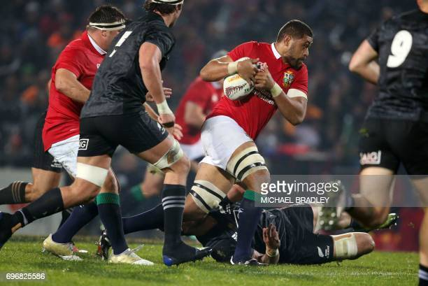 Toby Faletau of the British and Irish Lions runs the ball forward during the international rugby match between New Zealand's Maori All Blacks and the...