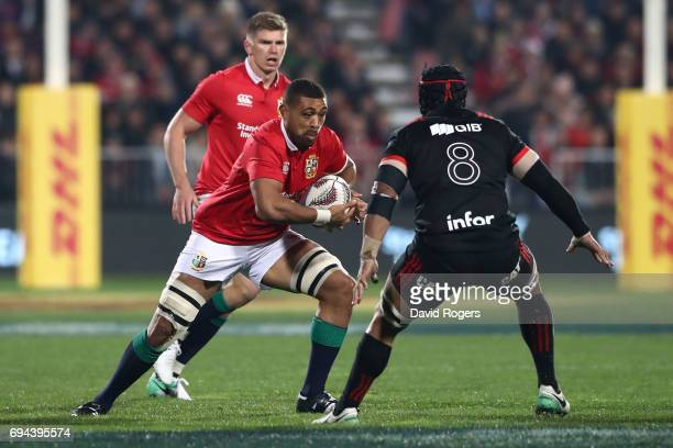 Toby Faletau of the Lions charges towards Jordan Taufua of the Crusaders during the 2017 British Irish Lions tour match between the Crusaders and the...