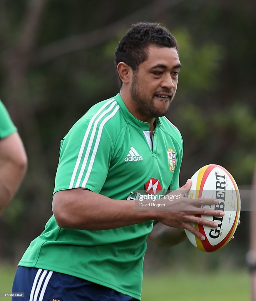 Toby Faletau runs with the ball during a British & Irish Lions training session held at the Noosa Dolphins Rugby Club on July 3, 2013 in Noosa, Australia.