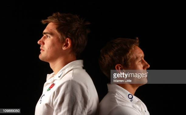 Toby Flood and Jonny Wilkinson of England pose back to back for a picture at Pennyhill Park on March 9 2011 in Bagshot England