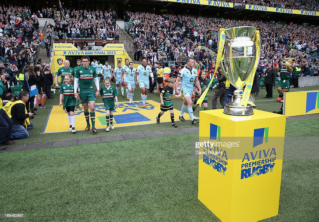 Toby Flood, captain of Leicester Tigers and Dylan Hartley captain of Northampton Saints lead out their team during the Aviva Premiership Final between Leicester Tigers and Northampton Saints at Twickenham Stadium on May 25, 2013 in London, England.