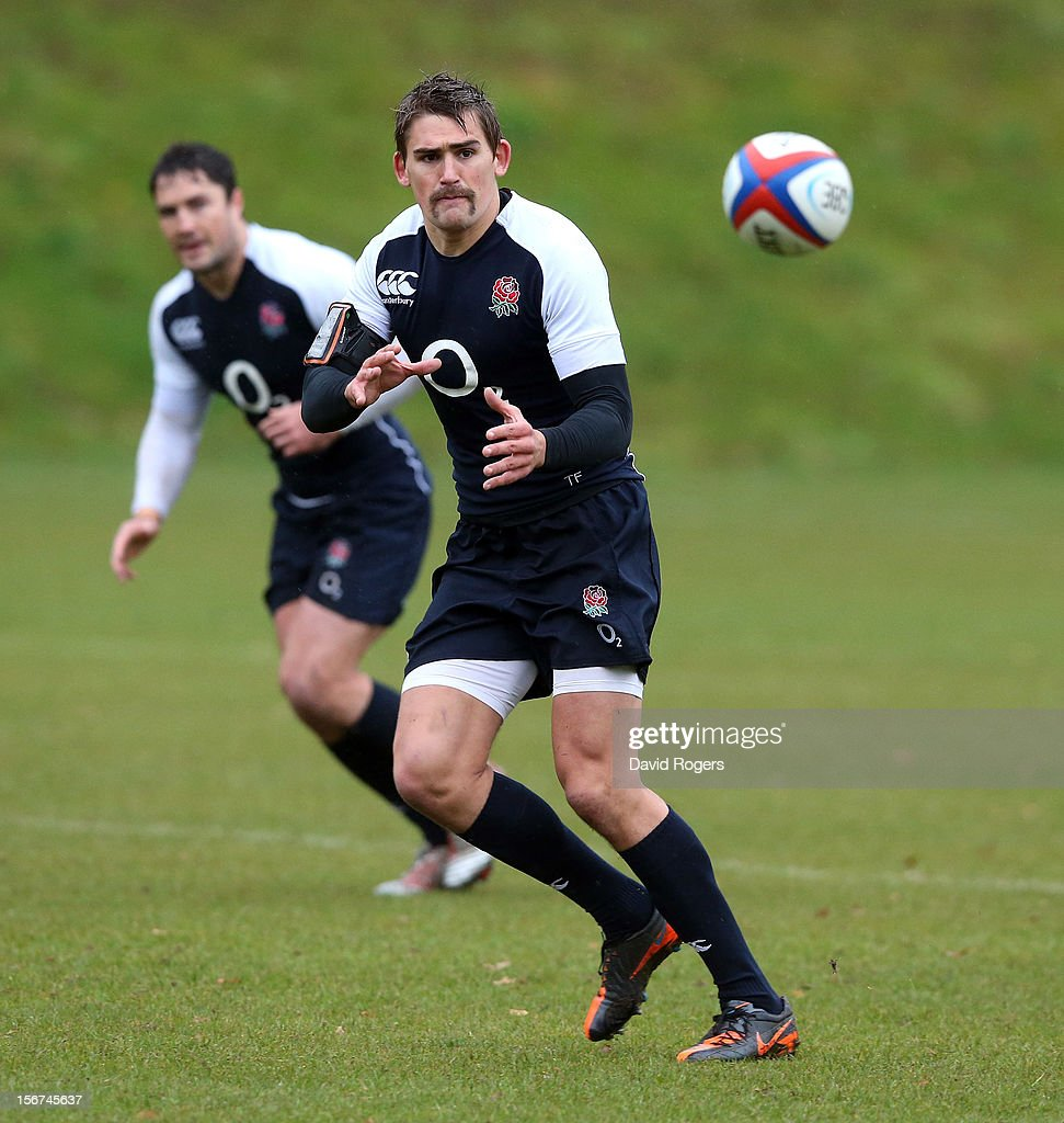 Toby Flood catches the ball during the England training session held at Pennyhill Park on November 20, 2012 in Bagshot, England.