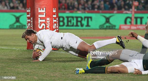 Toby Flood of England dives over for a try during the second test match between South Africa and England at Ellis Park on June 16 2012 in...