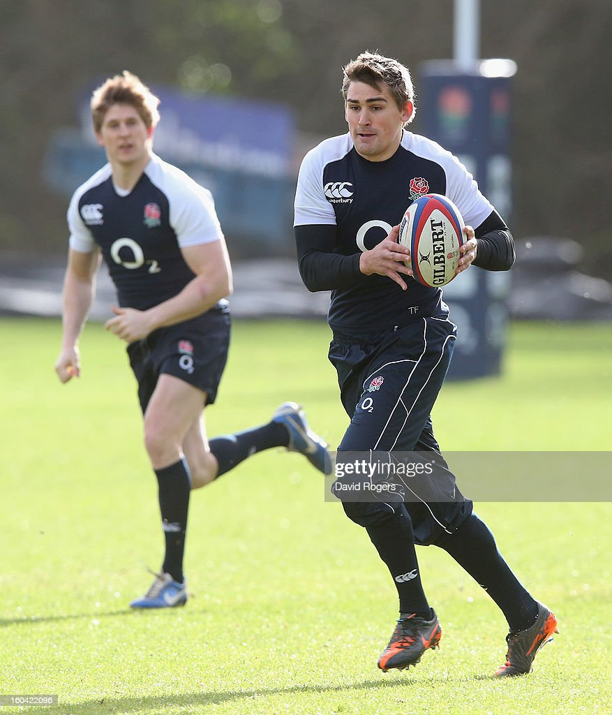 <a gi-track='captionPersonalityLinkClicked' href=/galleries/search?phrase=Toby+Flood&family=editorial&specificpeople=551191 ng-click='$event.stopPropagation()'>Toby Flood</a> of England in action during an England training session at Pennyhill Park on January 31, 2013 in Bagshot, England.