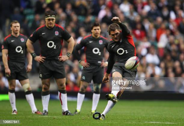 Toby Flood of England kicks during the Investec international test match between England and Australia at Twickenham Stadium on November 13 2010 in...