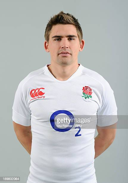Toby Flood of England poses for a portrait during the England rugby union squad photo call at Weetwood Hall on January 21 2013 in Leeds England