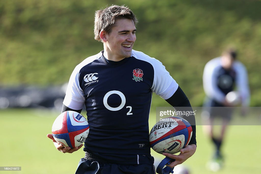 <a gi-track='captionPersonalityLinkClicked' href=/galleries/search?phrase=Toby+Flood&family=editorial&specificpeople=551191 ng-click='$event.stopPropagation()'>Toby Flood</a> of England smiles during an England training session at Pennyhill Park on January 31, 2013 in Bagshot, England.