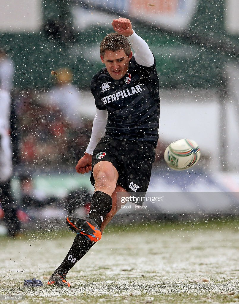 <a gi-track='captionPersonalityLinkClicked' href=/galleries/search?phrase=Toby+Flood&family=editorial&specificpeople=551191 ng-click='$event.stopPropagation()'>Toby Flood</a> of Leicester kicks a penalty during the Heineken Cup match between Leicester Tigers and Toulouse at Welford Road on January 20, 2013 in Leicester, England.