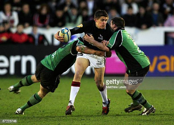 Toby Flood of Newcastle looks to off load the ball during the European Challenge Cup Quarter Final match between Newcastle Falcons and Connacht at...