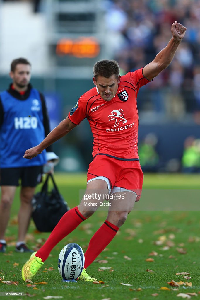 Toby Flood of Toulouse converts after his sides opening try during the European Rugby Champions Cup Pool Four match between Bath Rugby and Toulouse...