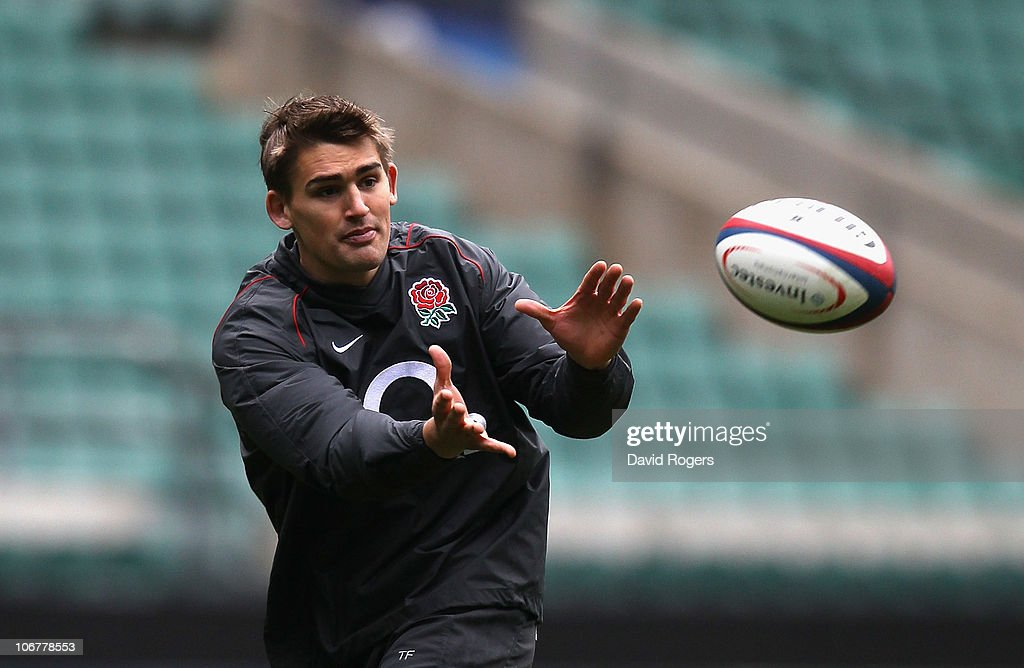 Toby Flood passes the ball during the England training session held at Twickenham Stadium on November 12 2010 in Twickenham England