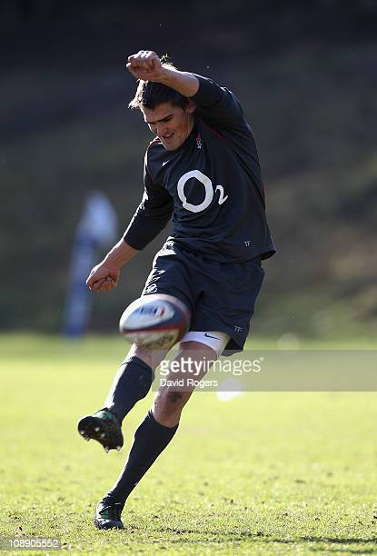 Toby Flood practices his kicking during the England training session held at the Pennyhill Park hotel on February 8 2011 in Bagshot England