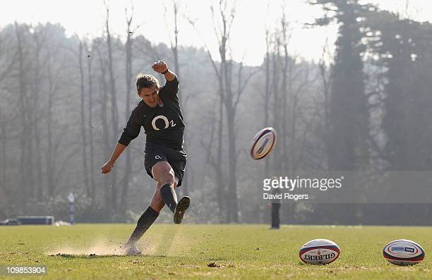 Toby Flood practices his kicking during the England training session held at the Pennyhill Park Hotel on March 8 2011 in Bagshot England