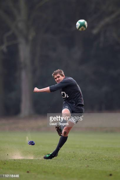 Toby Flood practices his kicking during the England training session held at Pennyhill Park Hotel on March 15 2011 in Bagshot England