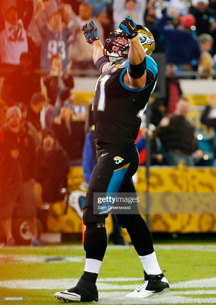 Toby Gerhart of the Jacksonville Jaguars celebrates his touchdown in the third quarter against the Tennessee Titans at EverBank Field on December 18...