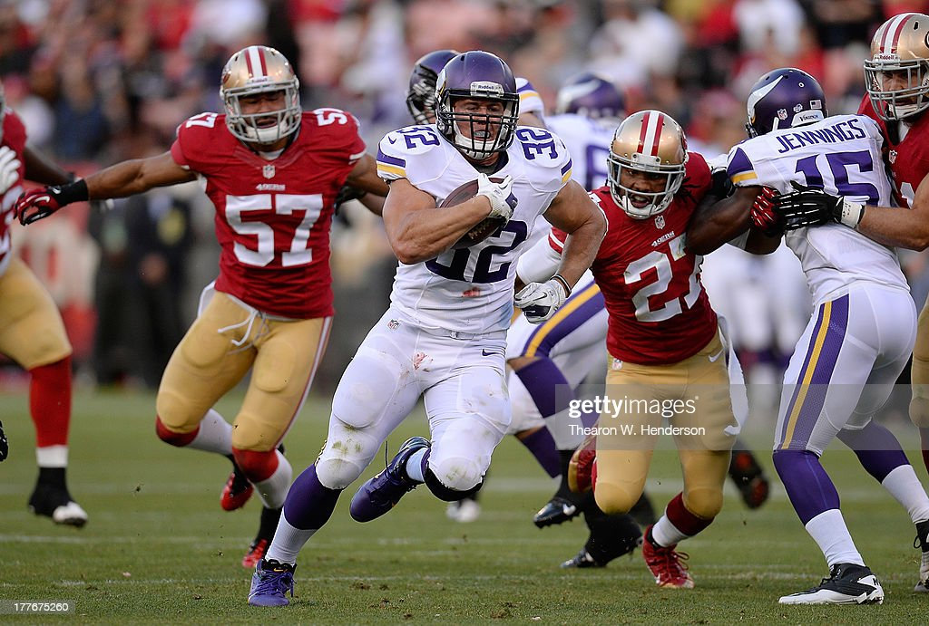 <a gi-track='captionPersonalityLinkClicked' href=/galleries/search?phrase=Toby+Gerhart&family=editorial&specificpeople=2968082 ng-click='$event.stopPropagation()'>Toby Gerhart</a> #32 of the Minnesota Vikings carries the ball for a sixteen yard gain to the San Francisco 49ers fifteen yard line in the second quarter at Candlestick Park on August 25, 2013 in San Francisco, California.