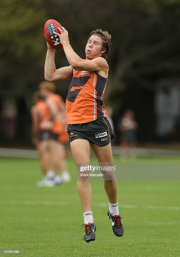 Toby Greene in action during a Greater Western Sydney Giants AFL pre-season training session at Lakeside Oval on November 28, 2012 in Sydney, Australia.