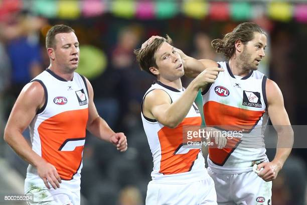 Toby Greene of the Giants celebrates a goal during the round 14 AFL match between the Brisbane Lions and the Greater Western Sydney Giants at The...