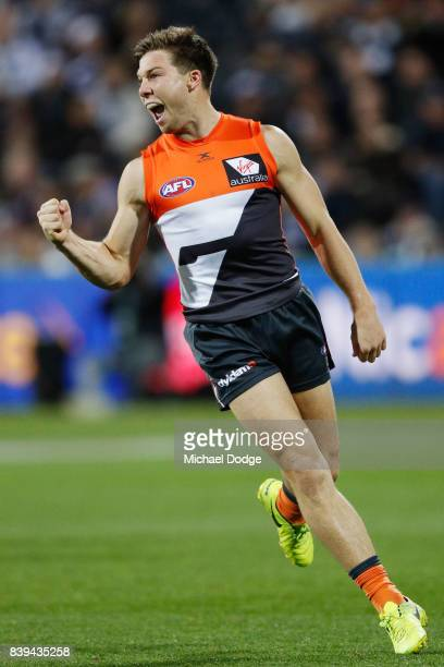 Toby Greene of the Giants celebrates a goal during the round 23 AFL match between the Geelong Cats and the Greater Western Sydney Giants at Simonds...