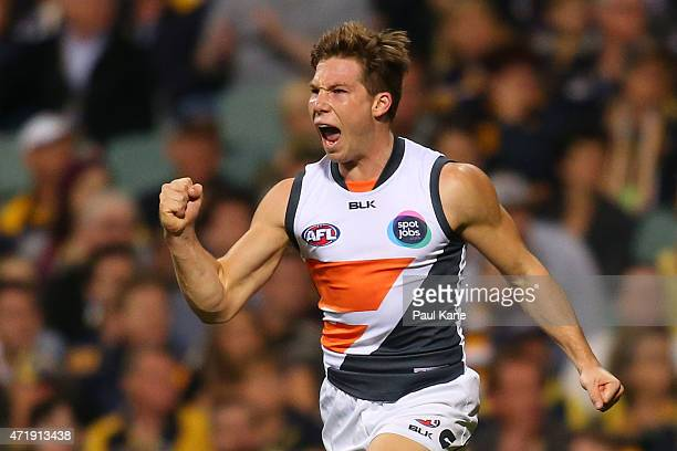 Toby Greene of the Giants celebrates a goal during the round five AFL match between the West Coast Eagles and the Greater Western Sydney Giants at...