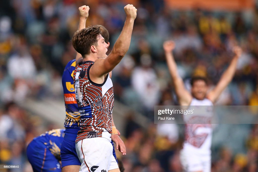 Toby Greene of the Giants celebrates winning the round 10 AFL match between the West Coast Eagles and the Greater Western Giants at Domain Stadium on May 28, 2017 in Perth, Australia.