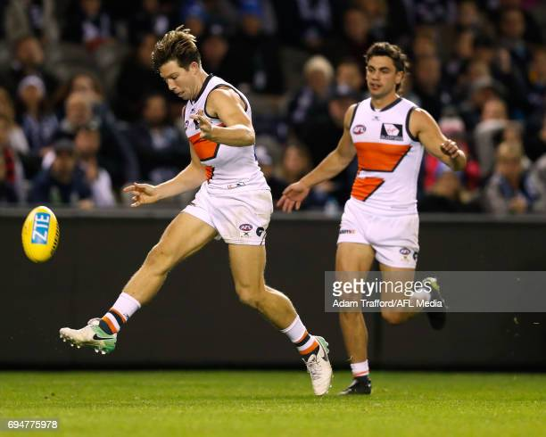 Toby Greene of the Giants misses a shot on goal during the 2017 AFL round 12 match between the Carlton Blues and the GWS Giants at Etihad Stadium on...