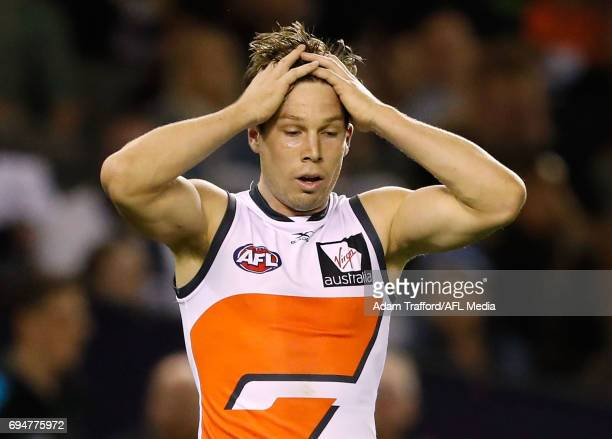 Toby Greene of the Giants rues a missed shot on goal during the 2017 AFL round 12 match between the Carlton Blues and the GWS Giants at Etihad...