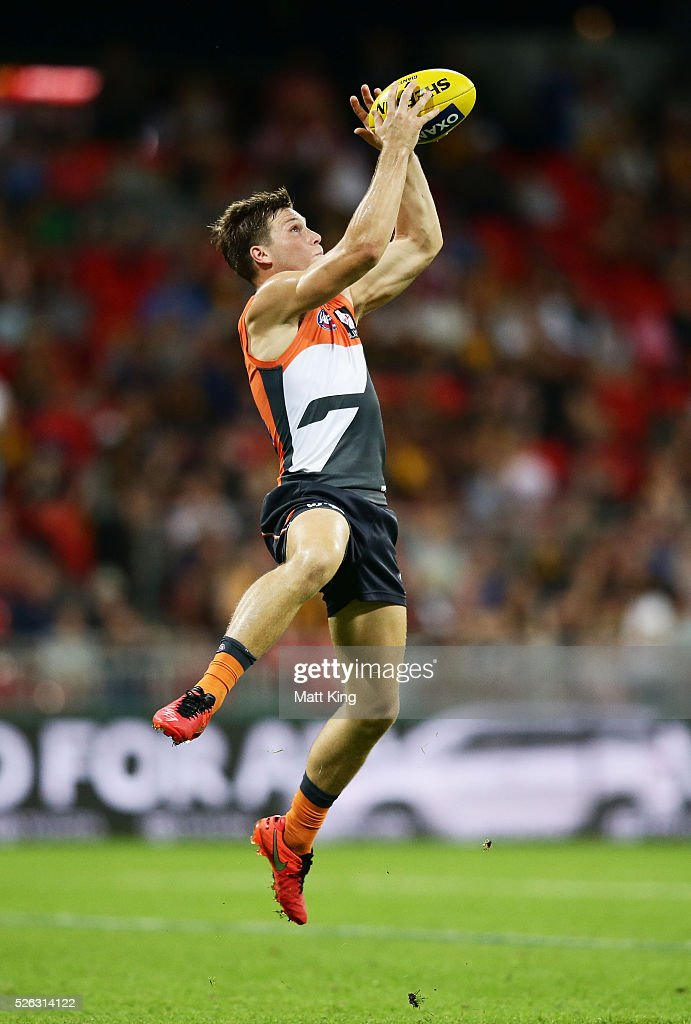 Toby Greene of the Giants takes a mark during the round six AFL match between the Greater Western Sydney Giants and the Hawthorn Hawks at Spotless Stadium on April 30, 2016 in Sydney, Australia.