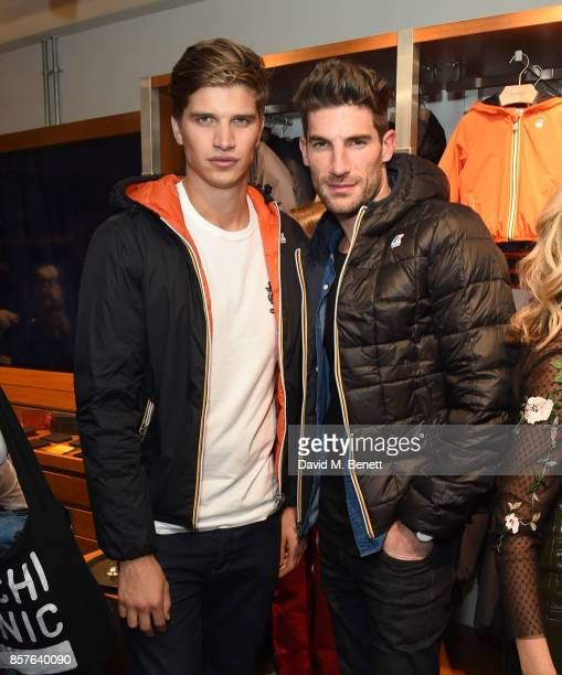 Toby Huntington Whiteley and Ryan Barrett attend the launch of the KWay London flagship store on October 4 2017 in London England