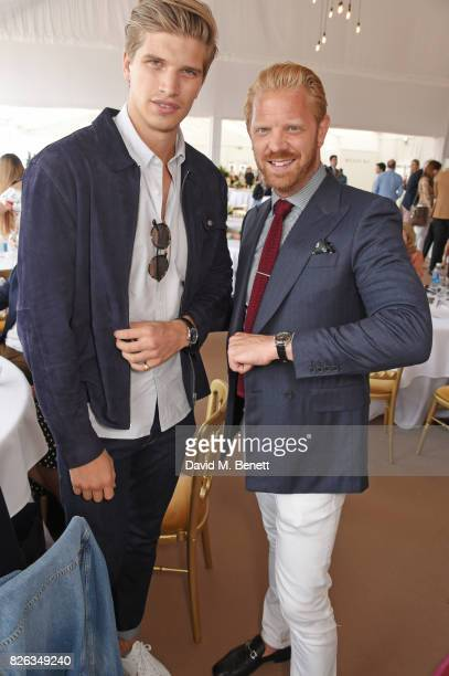 Toby HuntingtonWhiteley and Alistair Guy attend the Longines hospitality lounge at the Global Champions Tour at the Royal Hospital Chelsea on August...
