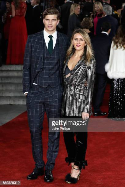 Toby HuntingtonWhiteley and Cecily Brown attend the 'Murder On The Orient Express' World Premiere at Royal Albert Hall on November 2 2017 in London...