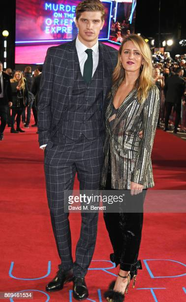 Toby HuntingtonWhiteley and Cecily Brown attend the World Premiere of 'Murder On The Orient Express' at The Royal Albert Hall on November 2 2017 in...