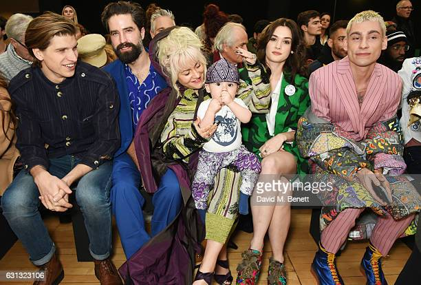 Toby HuntingtonWhiteley Jack Guinness Jaime Winstone with Baby Ray Sai Bennett and Kyle De'Volle attend the Vivienne Westwood show during London...
