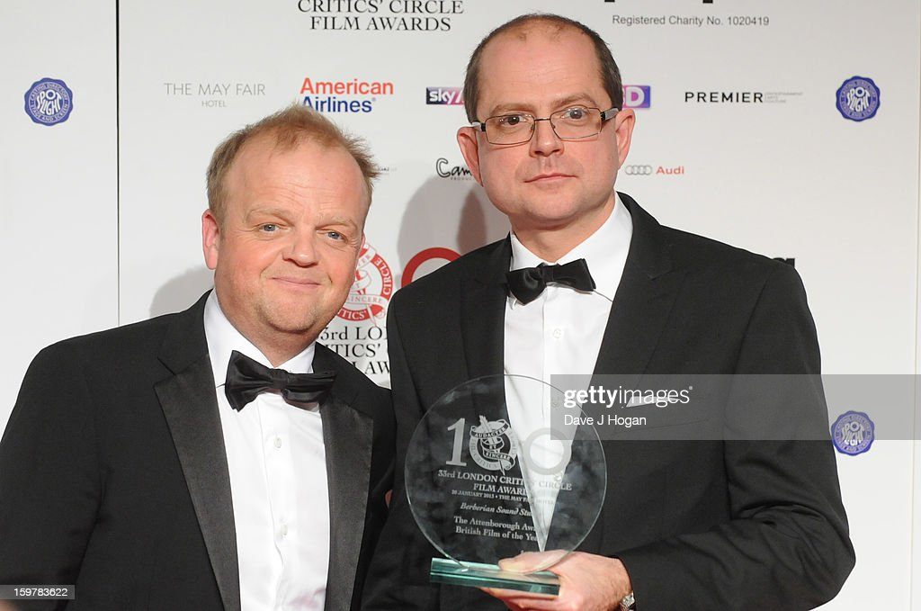 Toby Jones and Stevie Heywood pose in The London Film Critics Film Awards press room on January 20, 2013 in London, England.