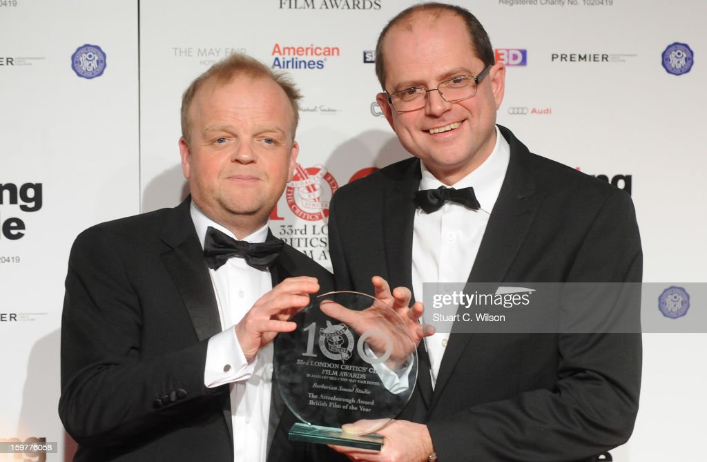 Toby Jones and Stevie Heywood pose in the press room at the London Critics' Circle Film Awards at The Mayfair Hotel on January 20, 2013 in London, England.