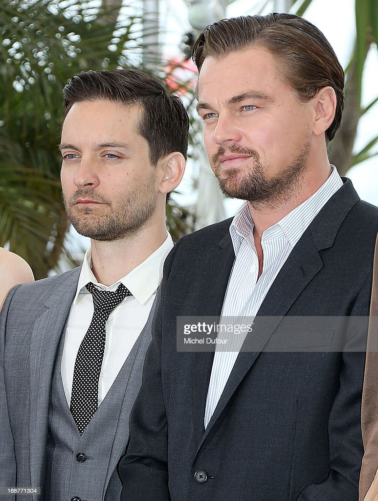 Toby Maguire and <a gi-track='captionPersonalityLinkClicked' href=/galleries/search?phrase=Leonardo+DiCaprio&family=editorial&specificpeople=201635 ng-click='$event.stopPropagation()'>Leonardo DiCaprio</a> attend 'The Great Gatsby' photocall on May 15, 2013 in Cannes, France.
