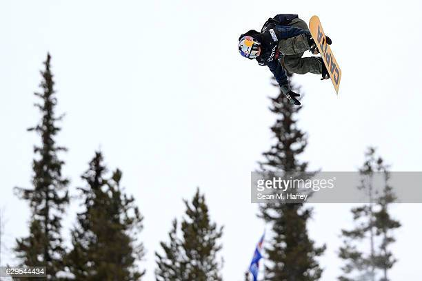 Toby Miller takes a practice run in the halfpipe during the 2017 US Snowboarding Grand Prix at Copper Mountain on December 13 2016 in Copper Mountain...