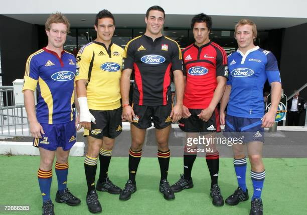 Toby Morland of the Highlanders Tamati Ellison of the Hurricanes Richard Kahui of the Chiefs Stephen Brett of the Crusaders and James Somerset of the...