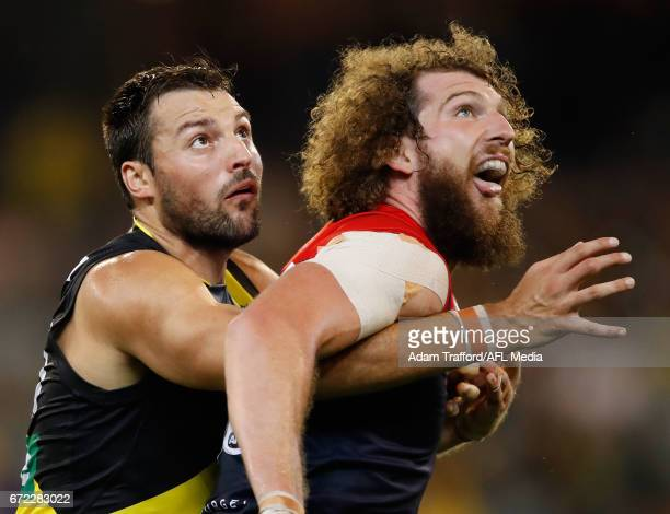 Toby Nankervis of the Tigers and Jake Spencer of the Demons compete in a ruck contest during the 2017 AFL round 05 match between the Richmond Tigers...