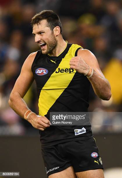 Toby Nankervis of the Tigers celebrates kicking a goal during the round 14 AFL match between the Richmond Tigers and the Carlton Blues at Melbourne...