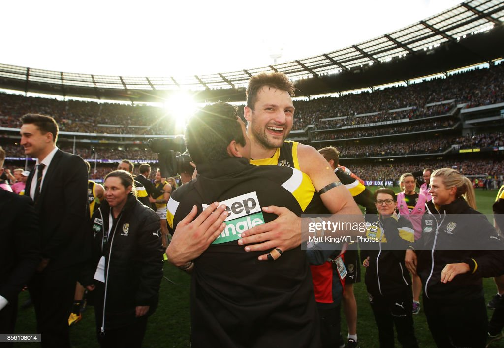Toby Nankervis of the Tigers celebrates victory with team mates after the 2017 AFL Grand Final match between the Adelaide Crows and the Richmond Tigers at Melbourne Cricket Ground on September 30, 2017 in Melbourne, Australia.
