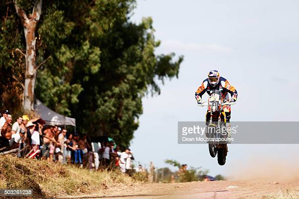 Toby Price of Australia riding on and for KTM 450 RED BULL KTM FACTORY TEAM competes in the Dakar Rally Prologue on January 2 2016 outside Buenos...