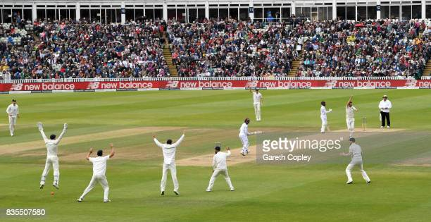 Toby RolandJones of England and the slip fielders appeal successfully for the wicket of Shane Dowrich of the West Indies during day three of the 1st...