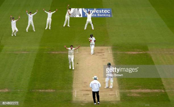 Toby RolandJones of England appeals and dismisses Temba Bavuma of South Africa during the fifth day of the 3rd Investec Test match between England...