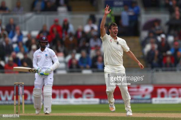 Toby RolandJones of England appeals successfully for the lbw wicket of Shane Dowrich of West Indies during day three of the 1st Investec Test match...