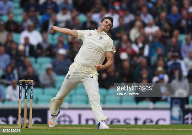 Toby RolandJones of England bowls during day two of the 3rd Investec Test match between England and South Africa at The Kia Oval on July 28 2017 in...