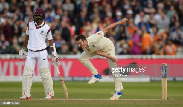 Toby RolandJones of England bowls during the third day of the 1st Investec Test match between England and the West Indies at Edgbaston cricket ground...