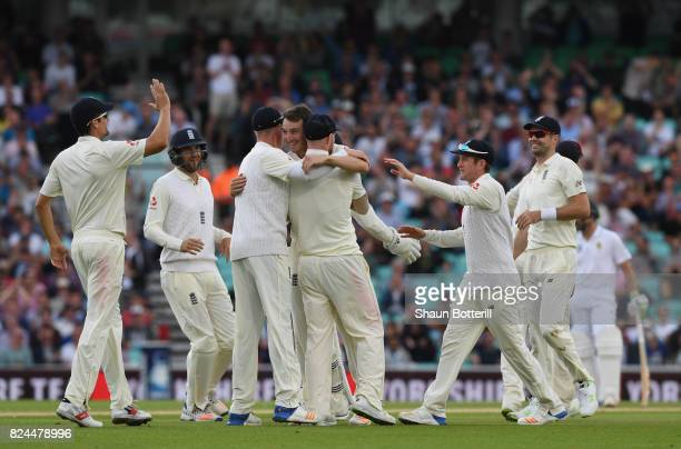 Toby RolandJones of England celebrates after taking the wicket of Hashim Amla of South Africa during day four of the 3rd Investec Test match between...