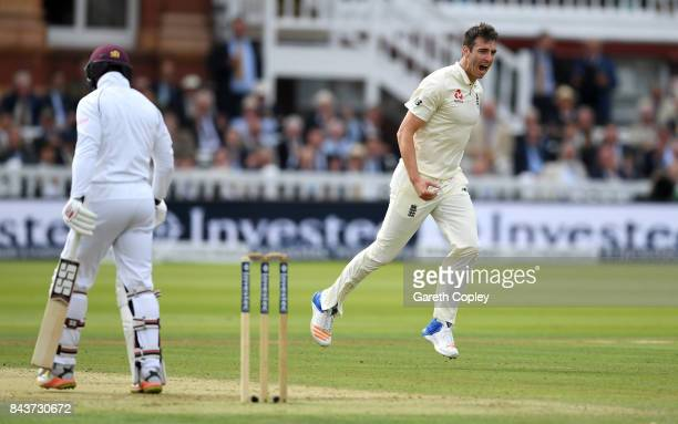 Toby RolandJones of England celebrates dismissing Shai Hope of the West Indies during day one of the 3rd Investec Test match between England and the...